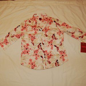 212 Collection Women's Petite V-Neck Blouse